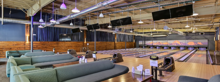 The bowling lanes provide comfortable fun